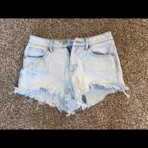 Light wash ripped shorts